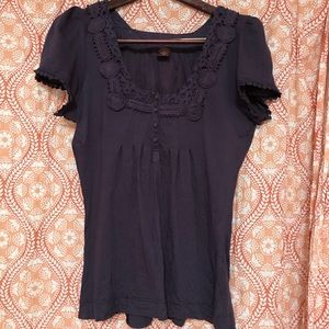 Anthropologie Purple embroidered detail Blouse